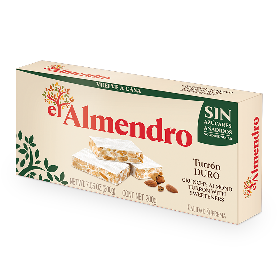 Crunchy Almond Turron with No Added Sugars