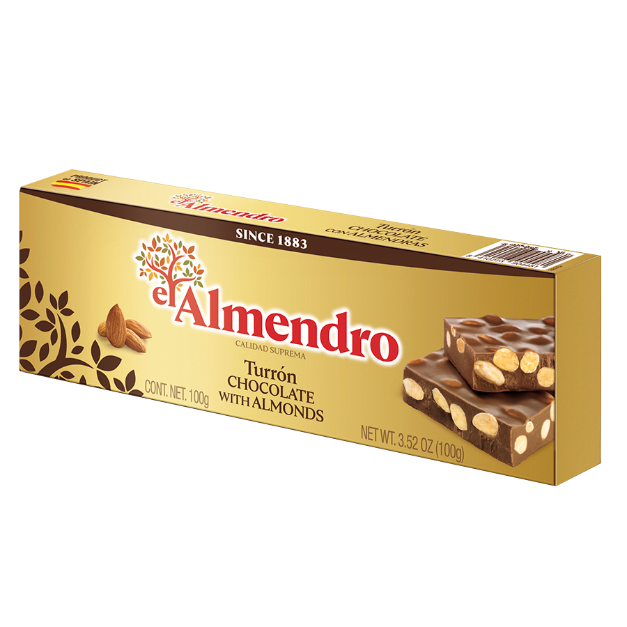 Chocolate turron with almonds