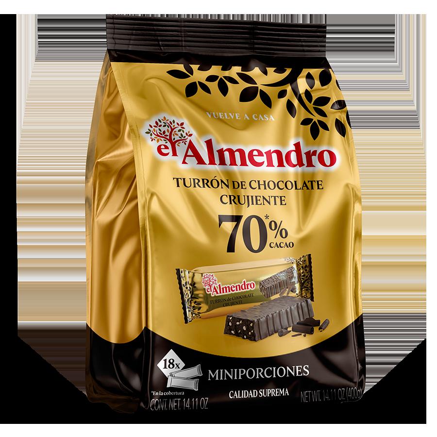 Porciones de Turrón de Chocolate Crujiente 70%